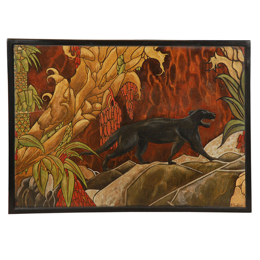 antique panel of panther in nature