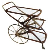 Mid Century bar cart with brass wheels