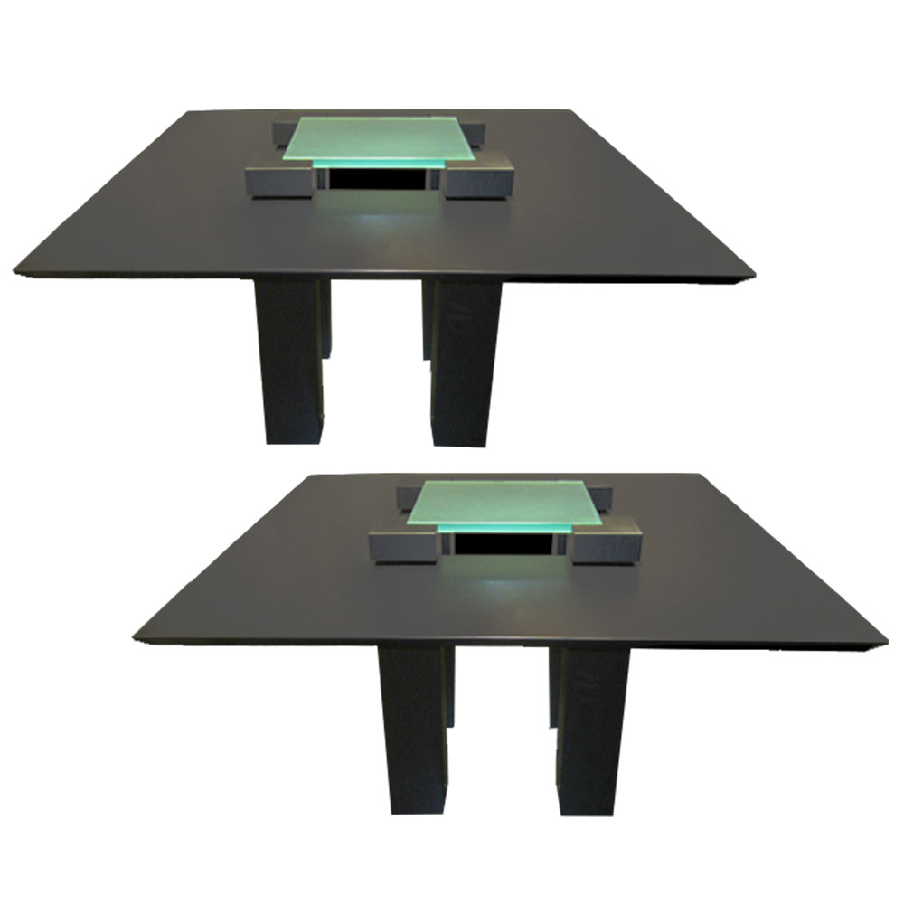 Pair of Square dining tables in black