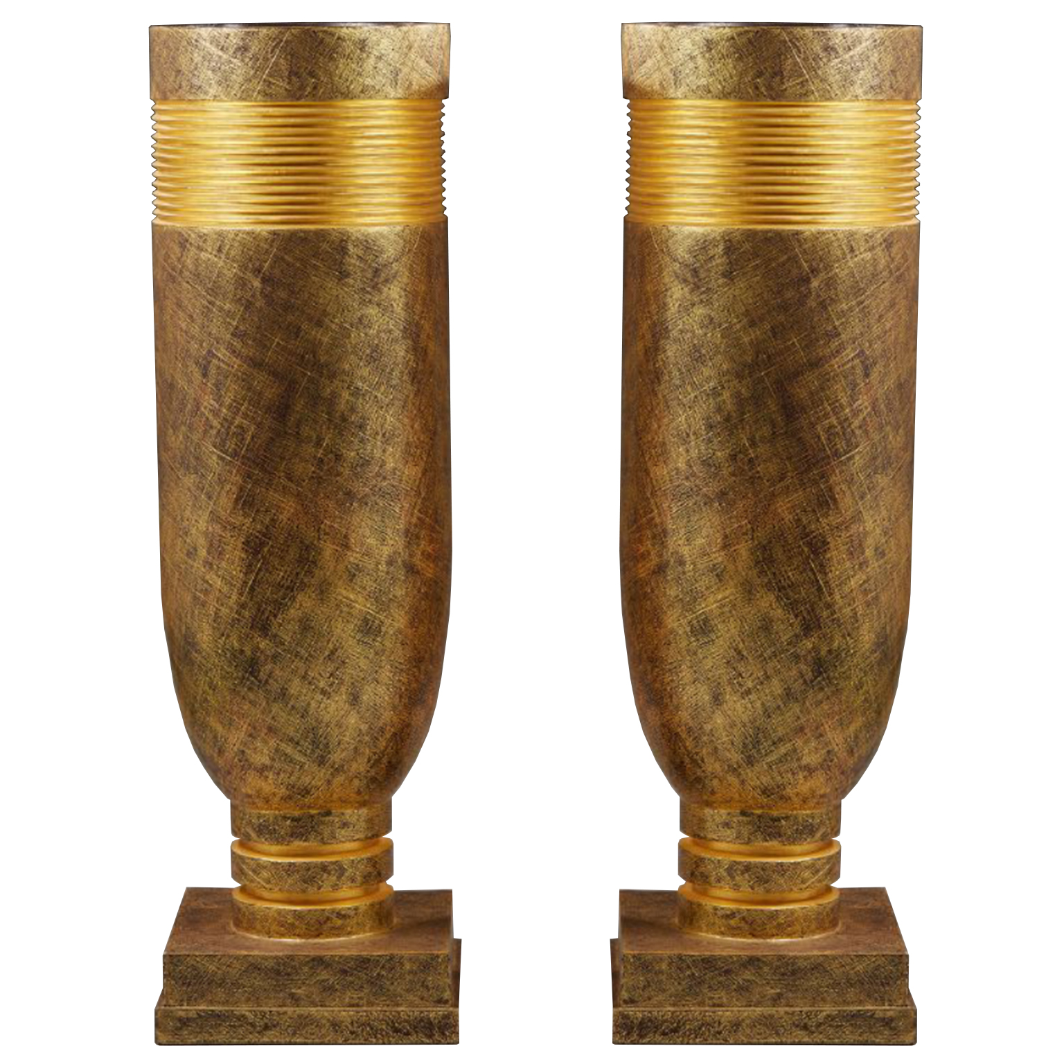pair of extra large stucco vases in golden patina