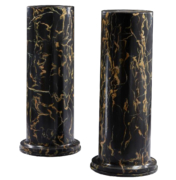 Pair of Italian pedestals in marble finish