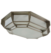 Ceiling Mount Light chandelier with silver nickel relief details and frosted glass