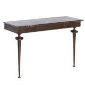 Italian Mid Century wall console with copper frame and legs and marble top