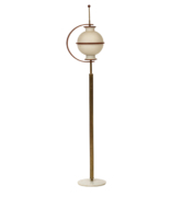 Italian Mid Century Floor lamp with unique design and globe shade
