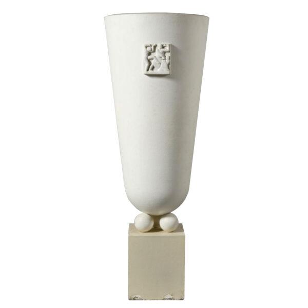 Very large illuminating vase in plaster