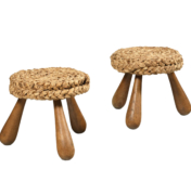 pair of french mid century woven rattan stools by Adrien Audoux and Frida Minet