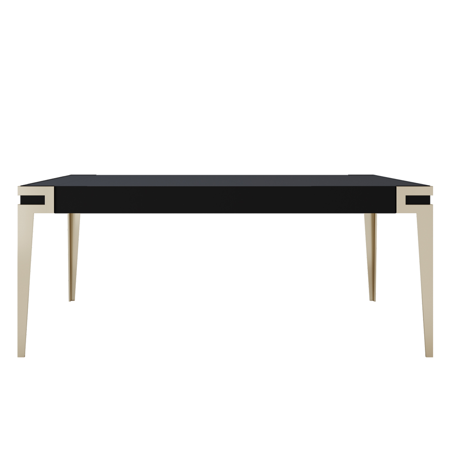Black Lacquer Dining table in high gloss with smoke brass legs