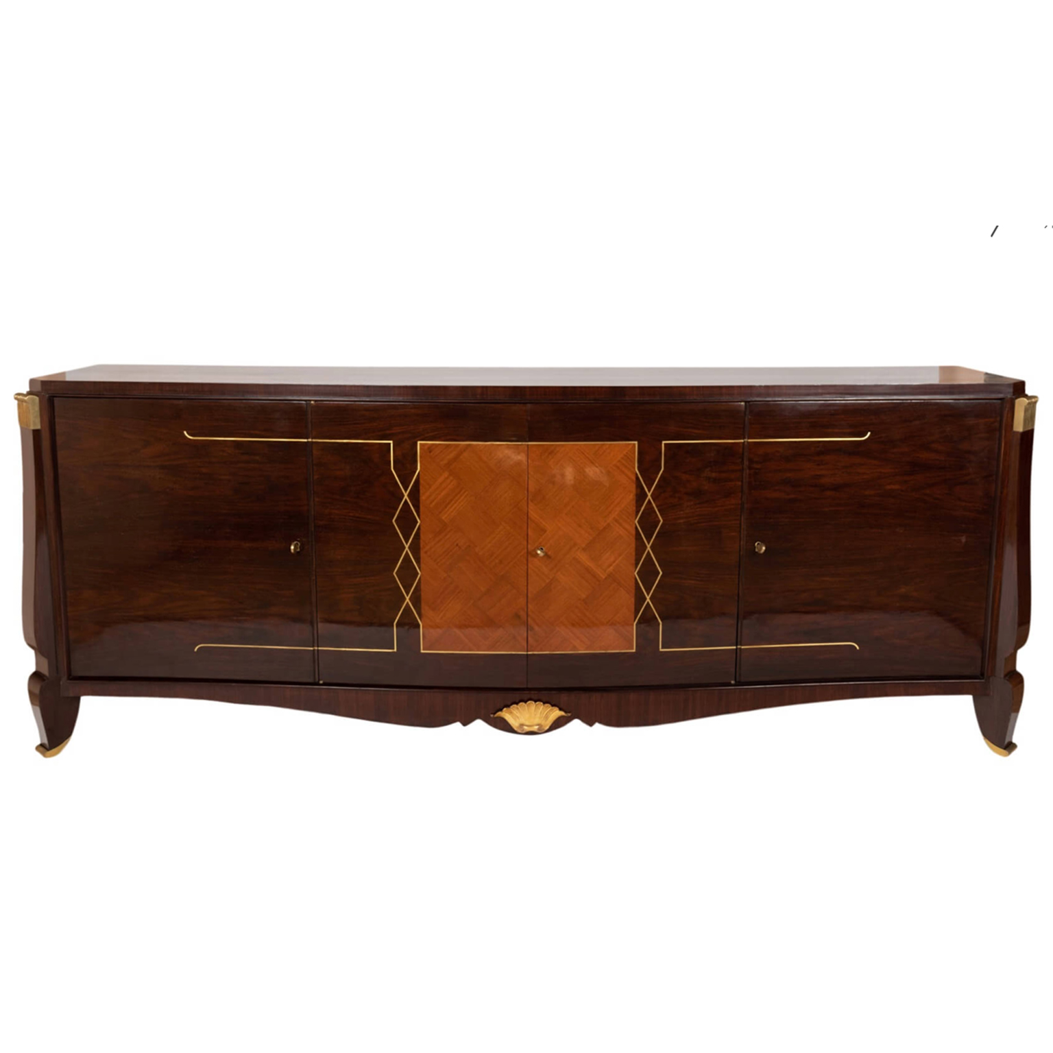 Art Deco sideboard rosewood wood with brass details