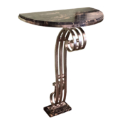 Art Deco Marble Wall Console with wrought iron base.