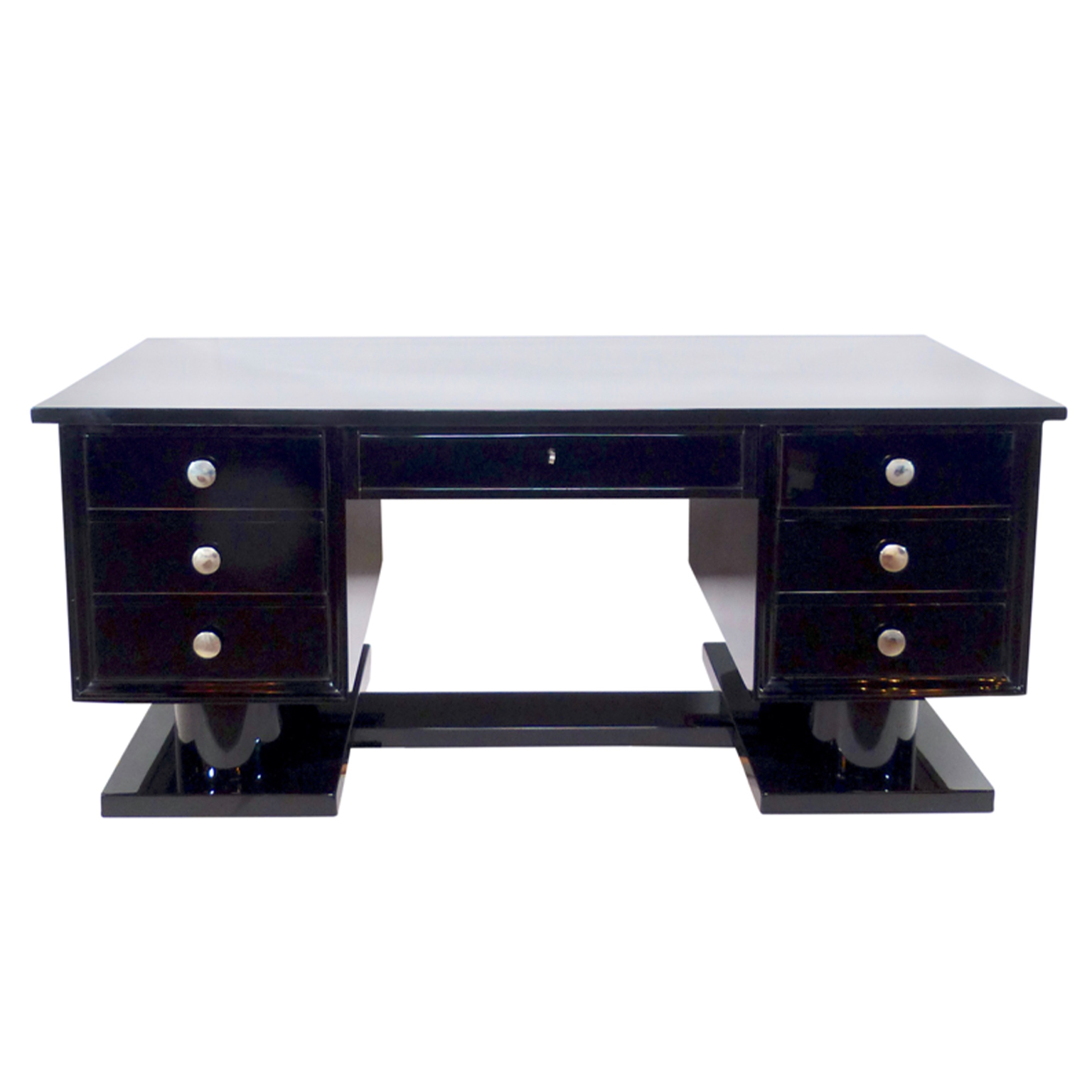 Art Deco High gloss, black piano lacquered desk with chrome-plated hardware