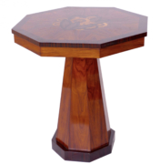 Art Deco octagonal side table made of walnut with intricate inlay in various fruit woods.