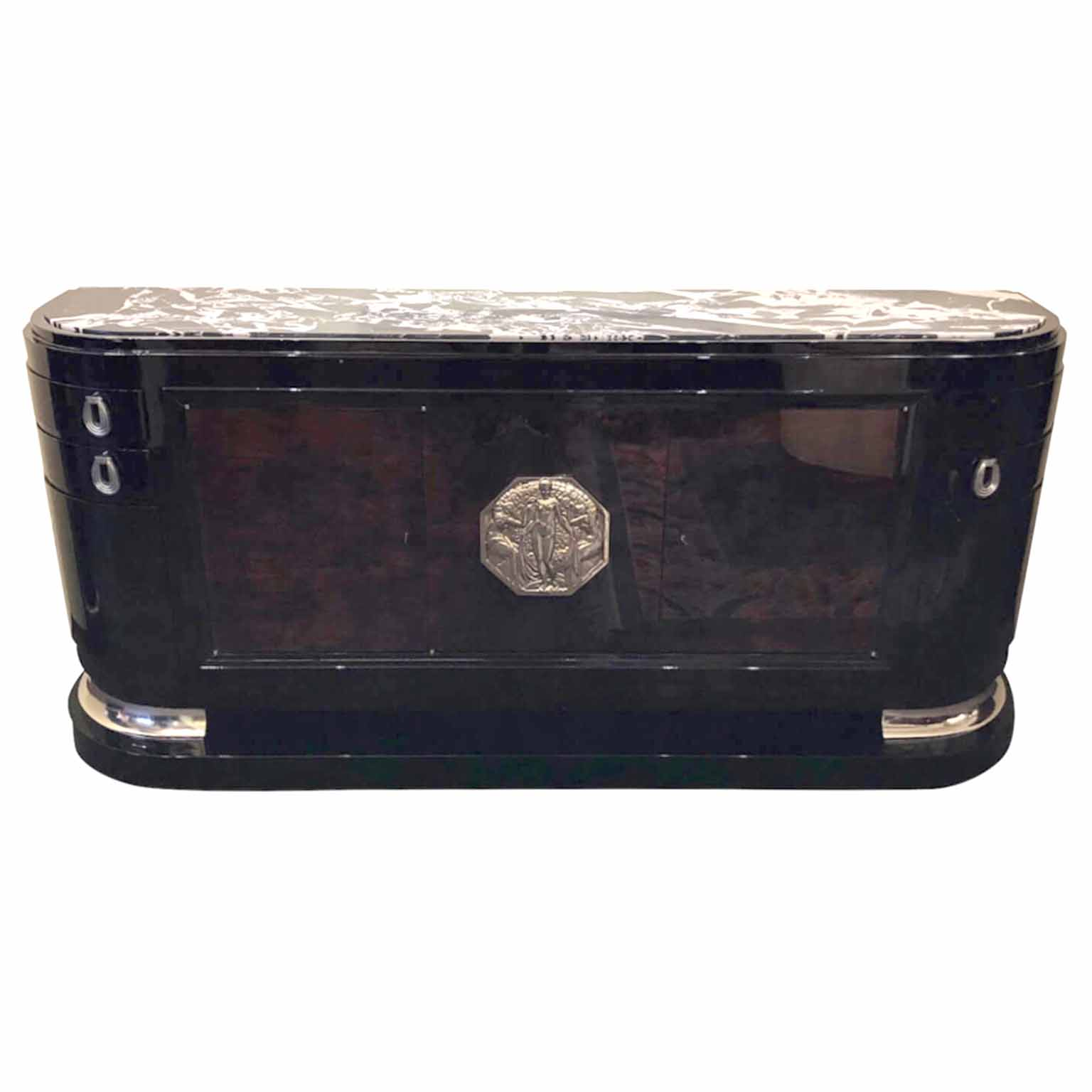 Art Deco demi lune Sideboard with black and white marble top