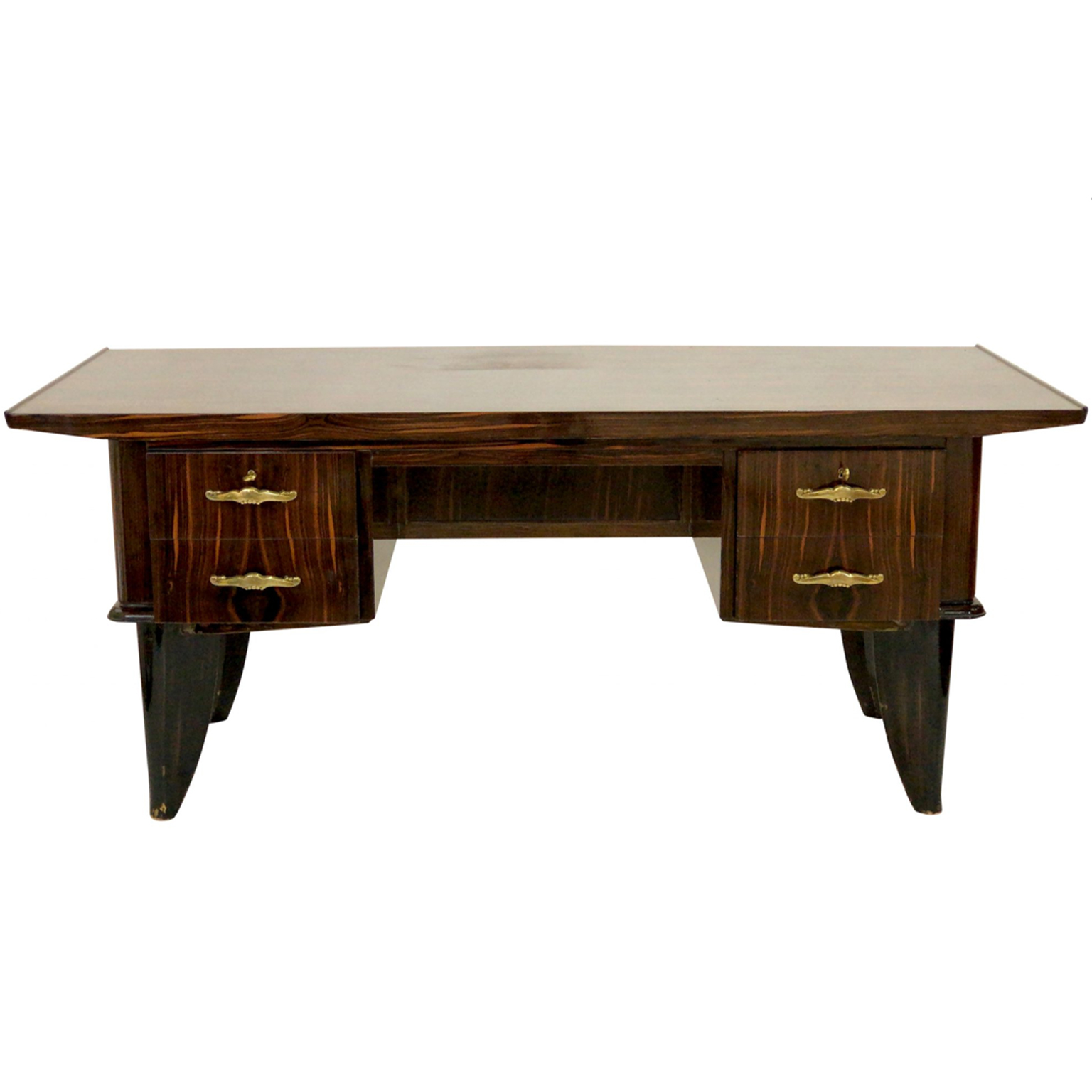 Art Deco Desk in brown Macassar wood with four drawers and shelf.