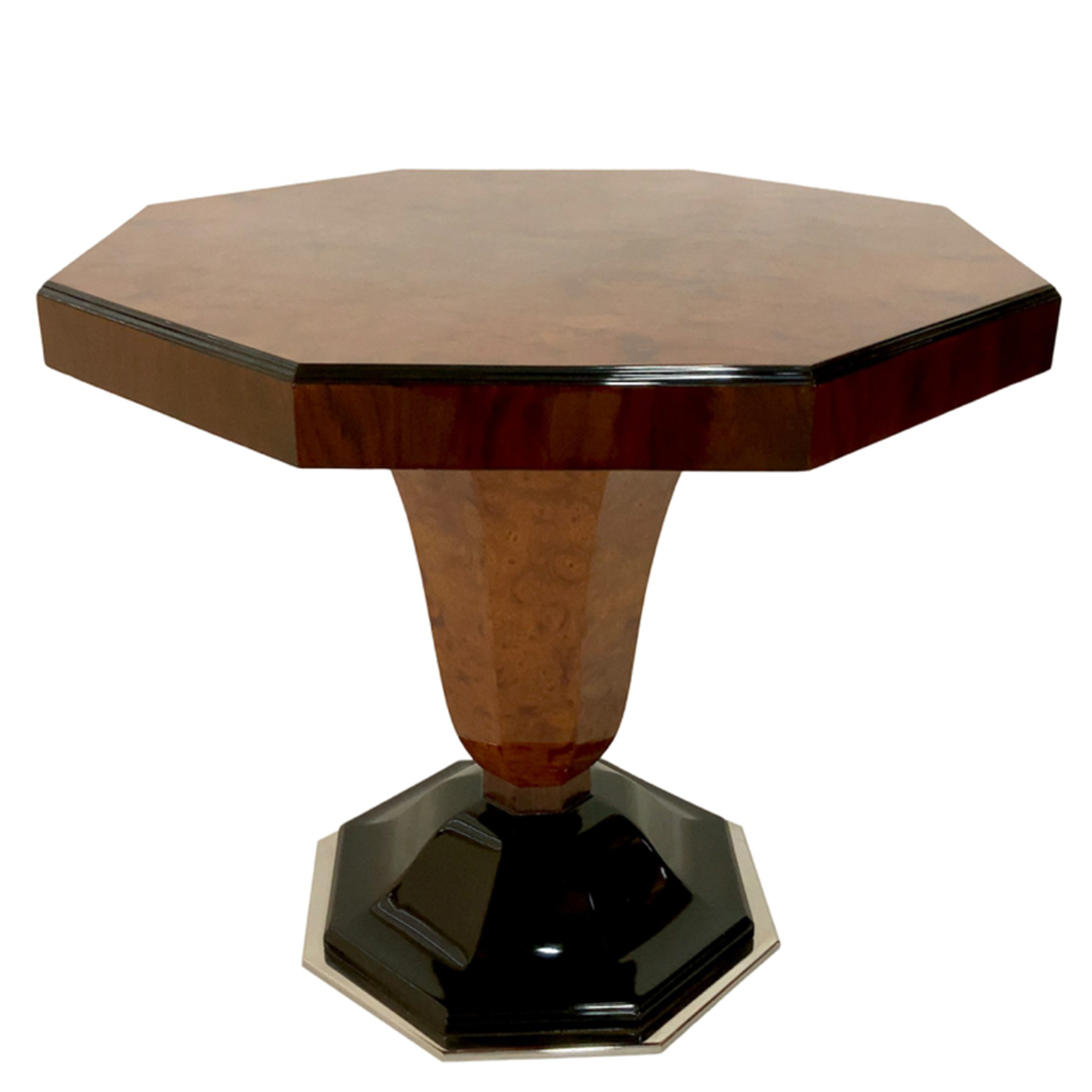 Art Deco octagonal side table with black lacquer detailing and chrome-plated bottom