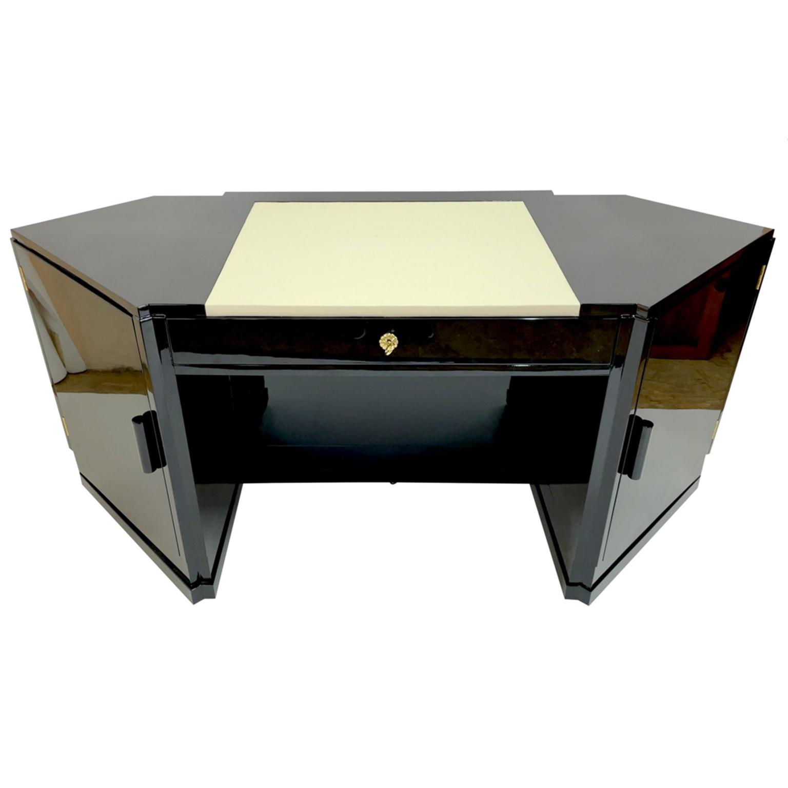 Art Deco Desk in piano lacquer in black high gloss.