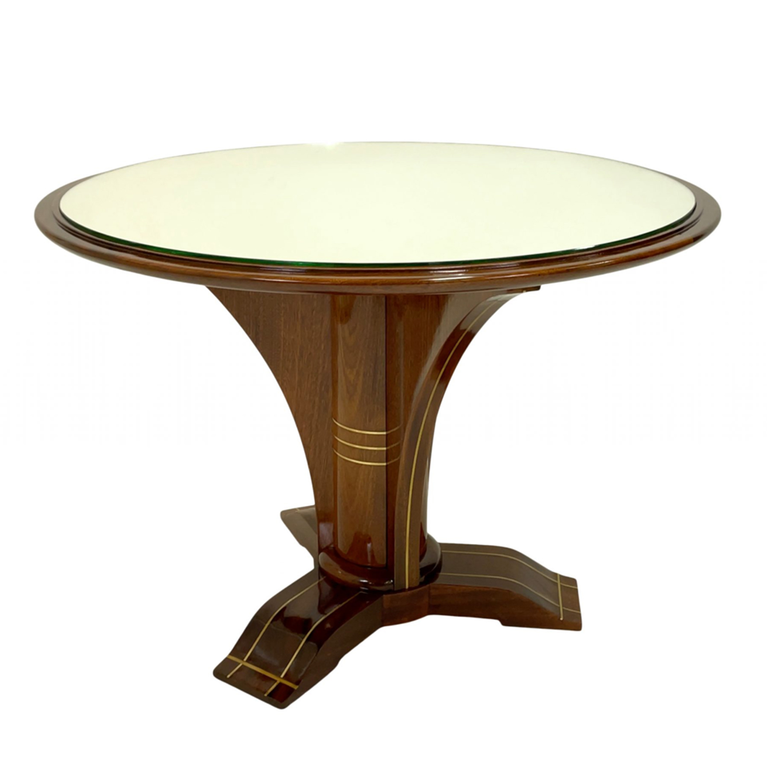 Mahogany side table with mirror top and brass inlay details.