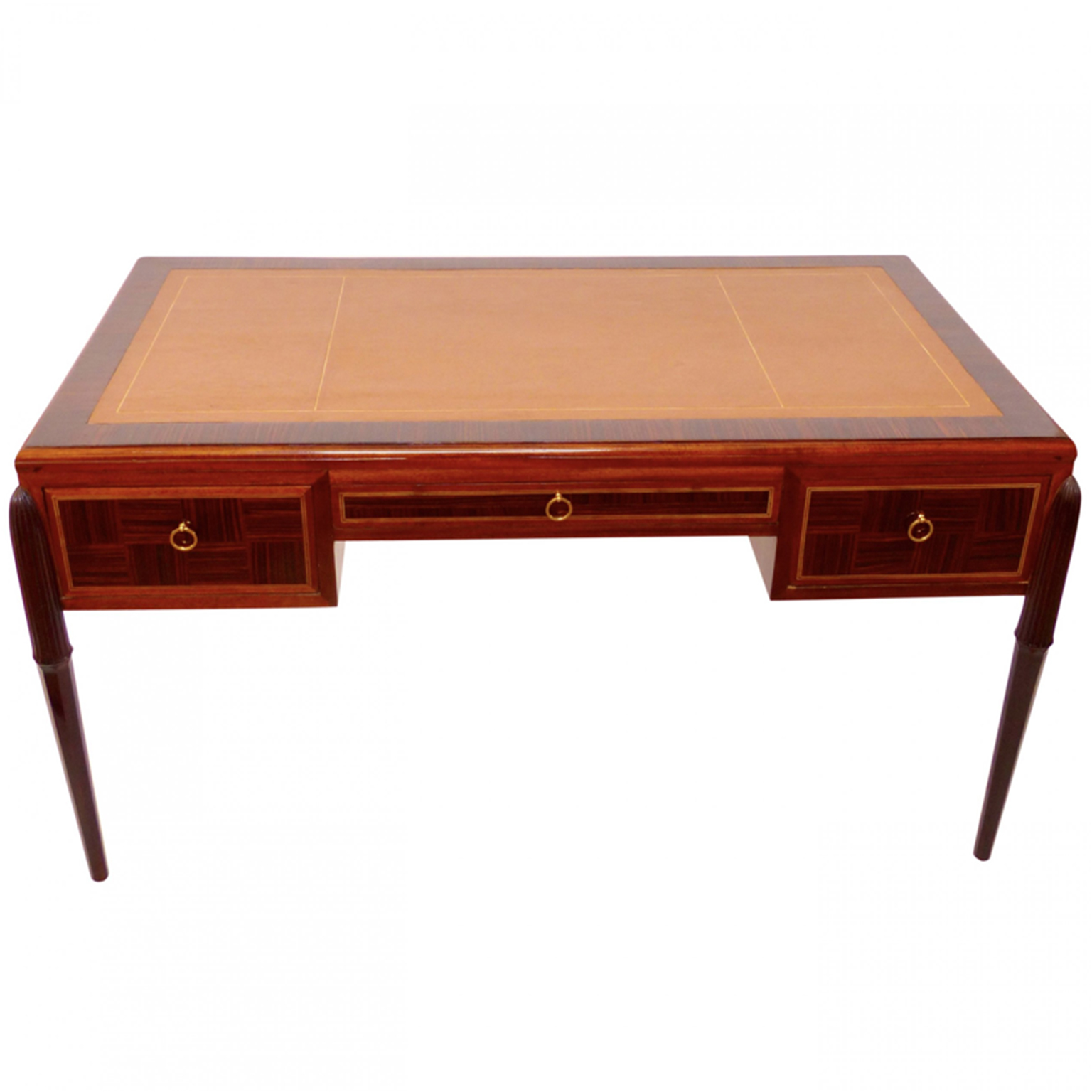 An early Art Deco desk in brown Macassar wood with leather top and brass ring pulls.