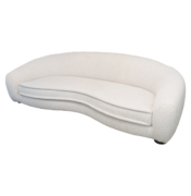 Mid-Century Sofa in the style of Jean Royere with curved frame in white bouclé upholstery