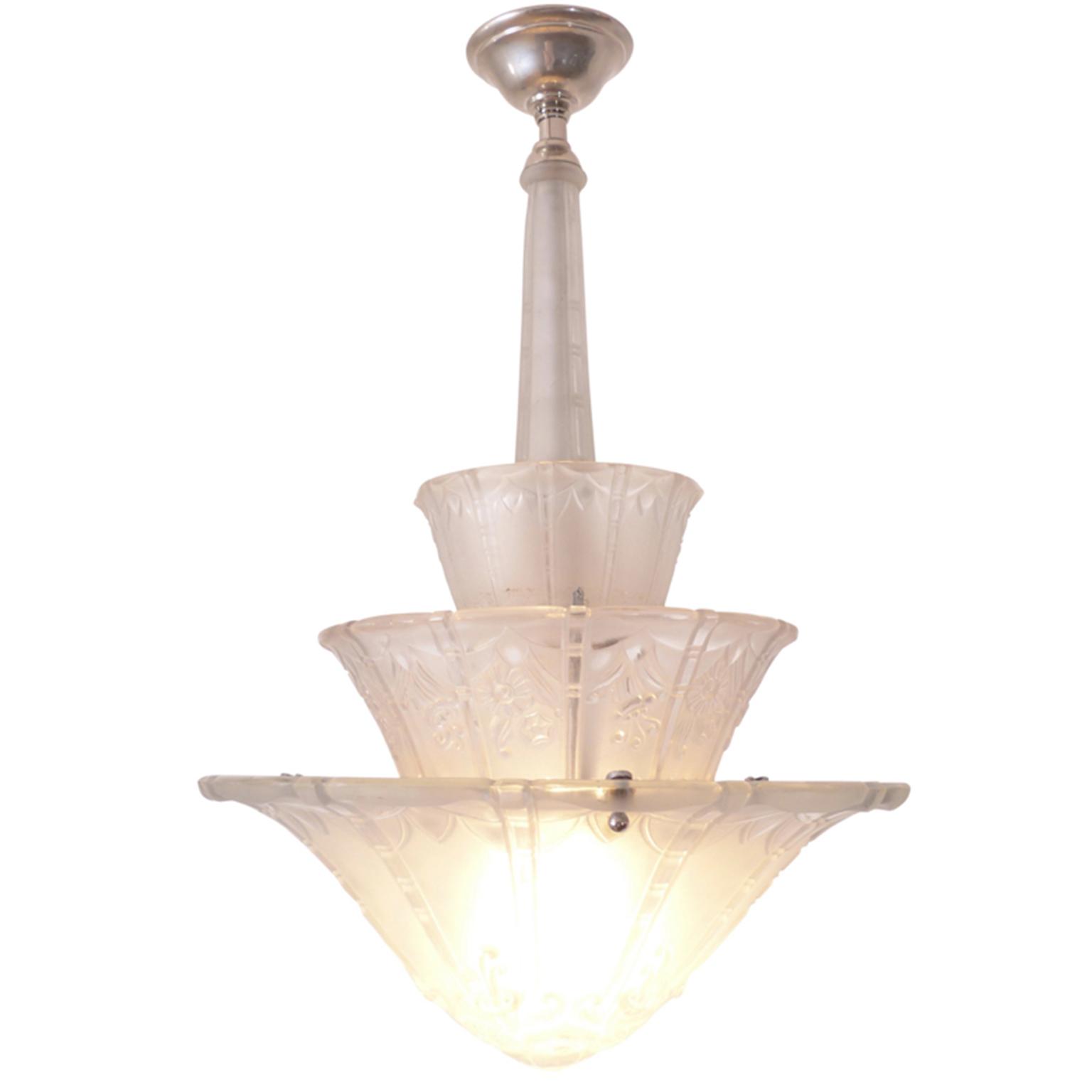 Art Deco Opaline Glass chandelier with nickel hardware.