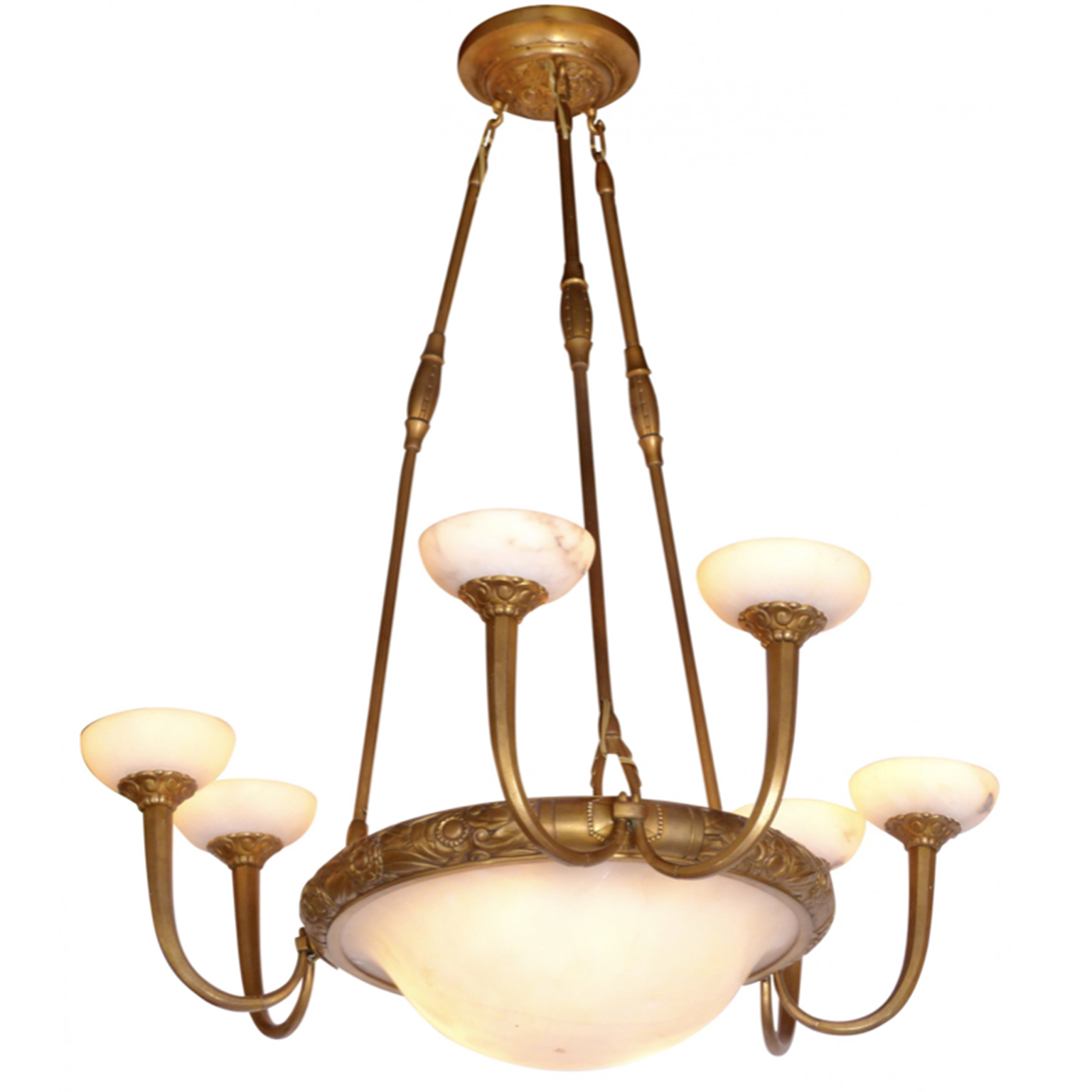 Art Deco chandelier with frosted glass and brass hardware.