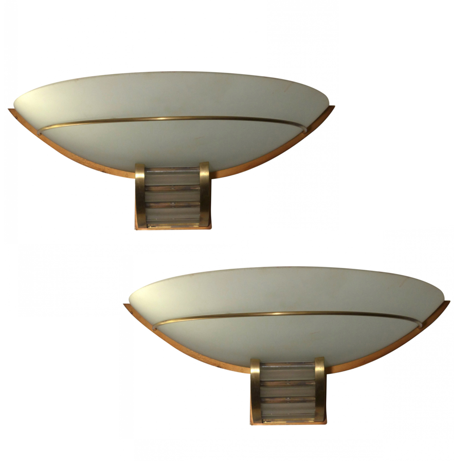 Art Deco Sconces in large bowl format, with brass hardware.