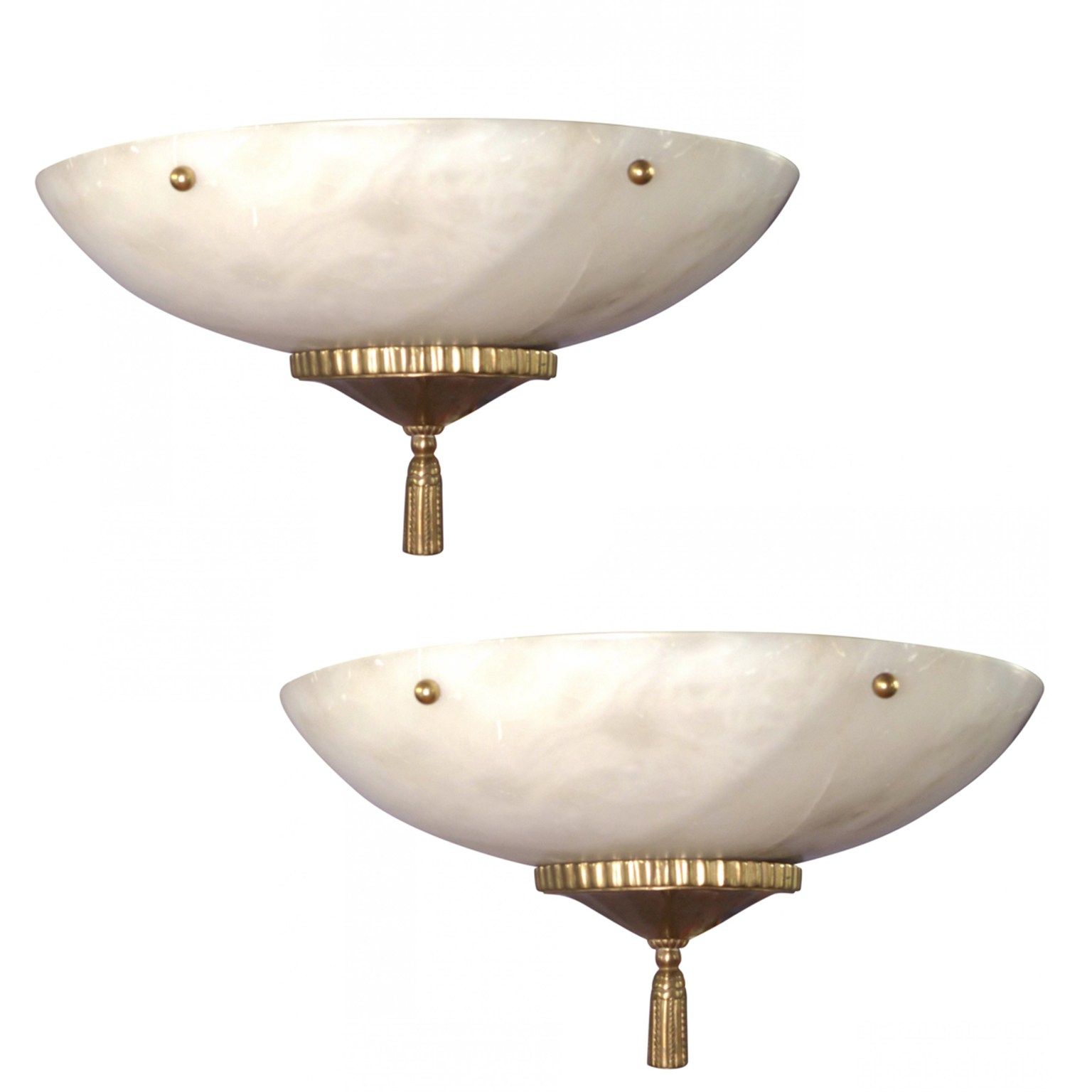 Large bowl Sconces made from alabaster with brass hardware.