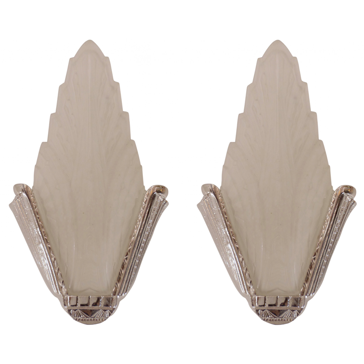 Art Deco Sconces in frosted glass and nickel.