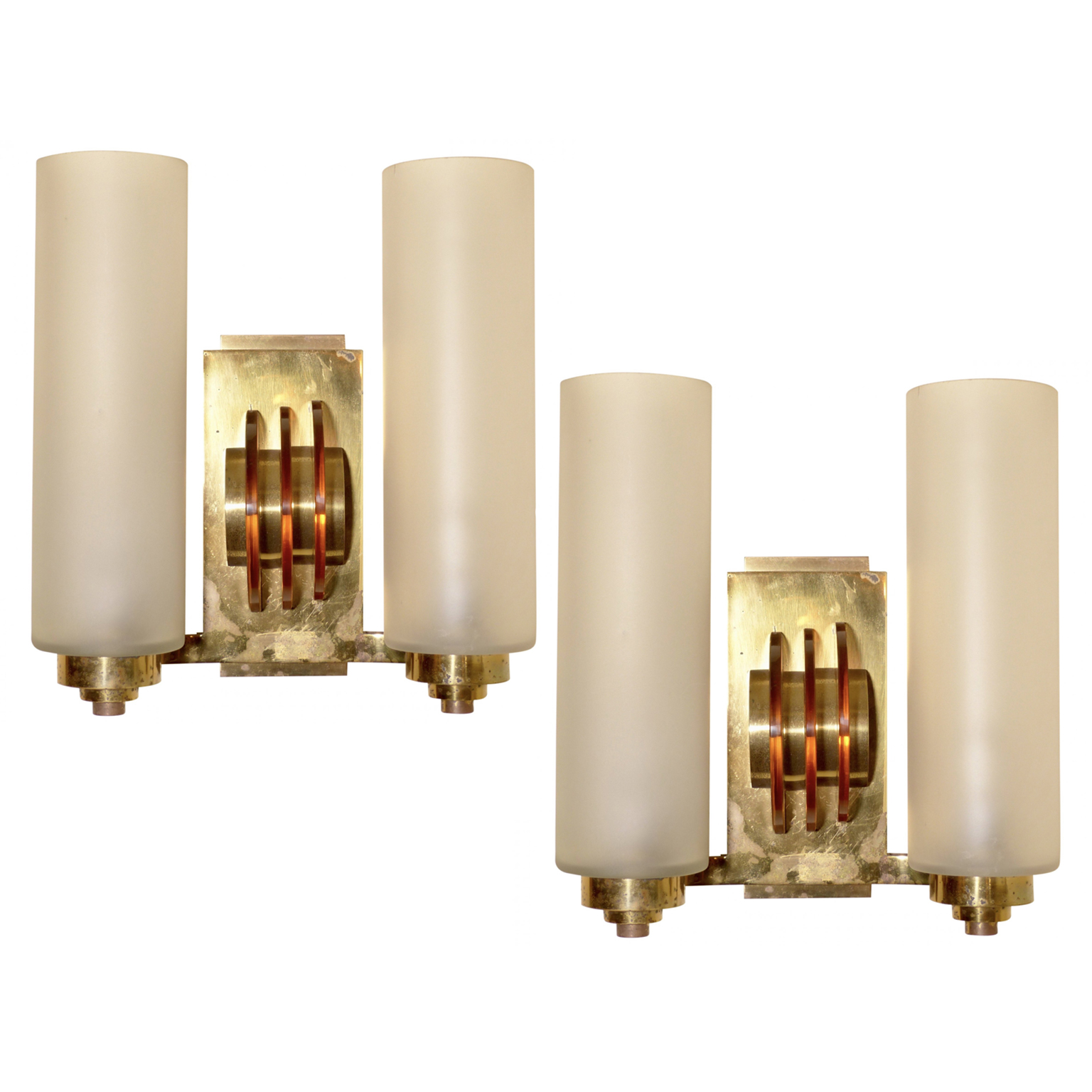 Art Deco Sconces with brass hardware and double light fixtures.