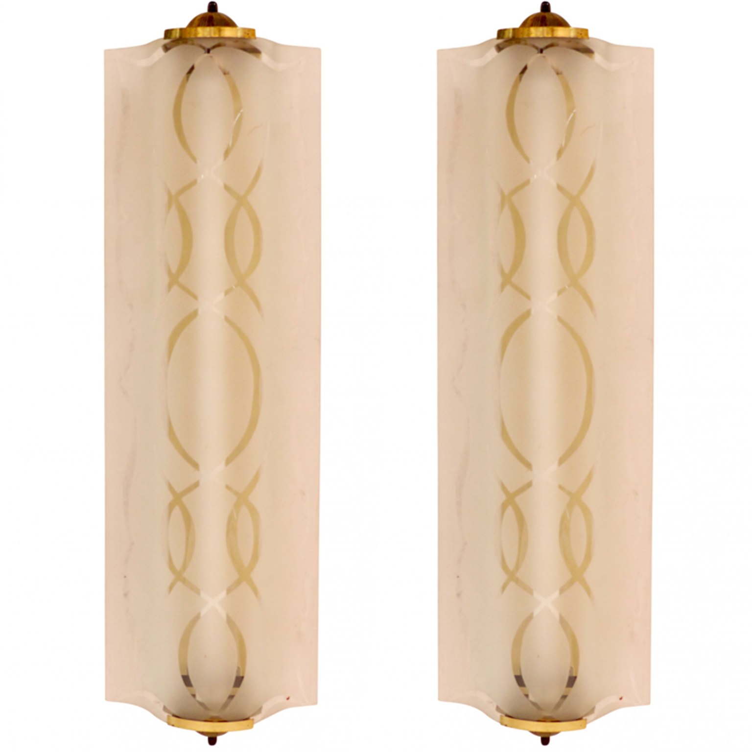 Art Deco elongated sconces with frosted glass and brass hardware.