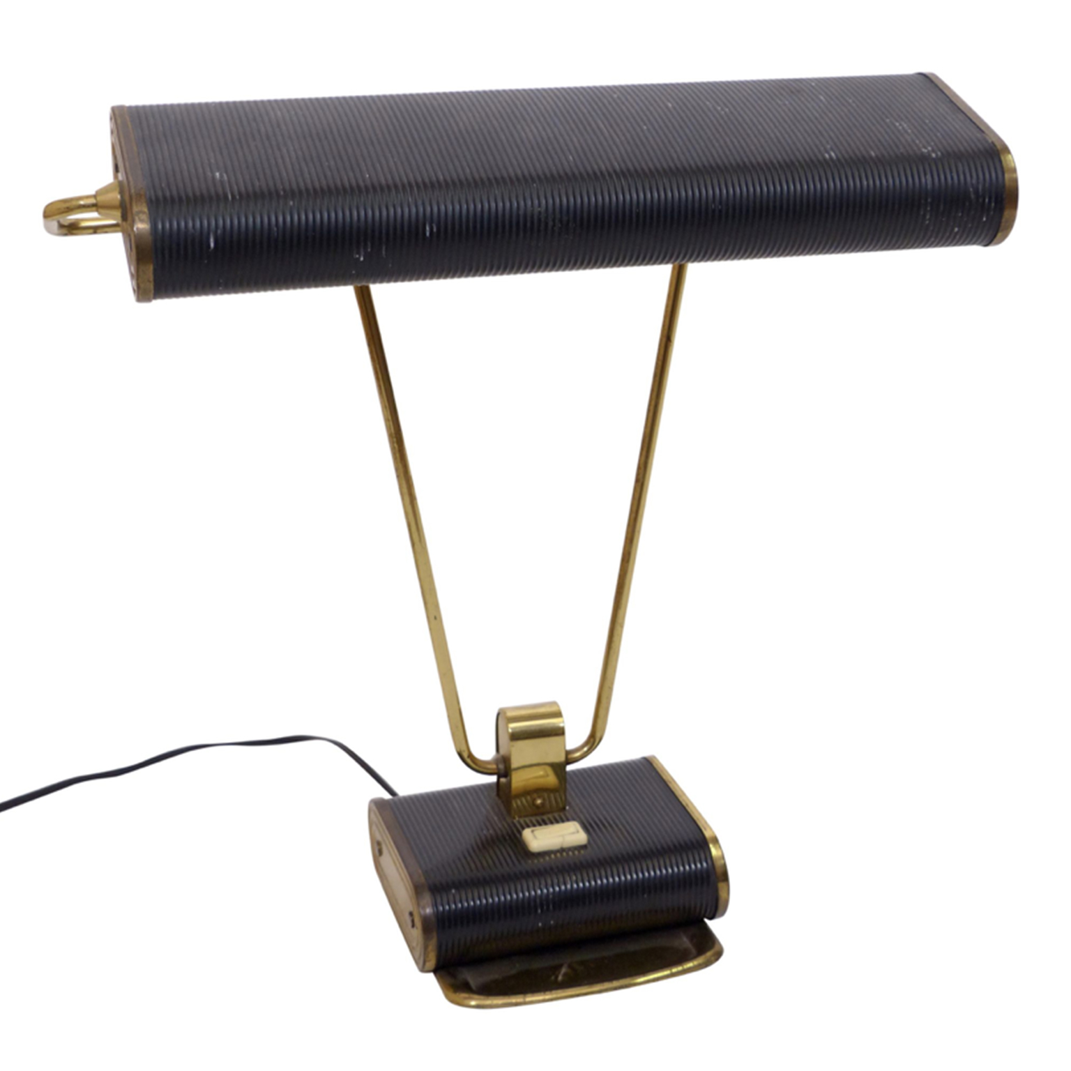Black Art Deco desk lamp by Eileen Gray, with brass hardware.