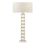 Modern white lacquer floor lamp with brass accents