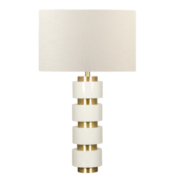 modern white lacquer table lamp with brass accents