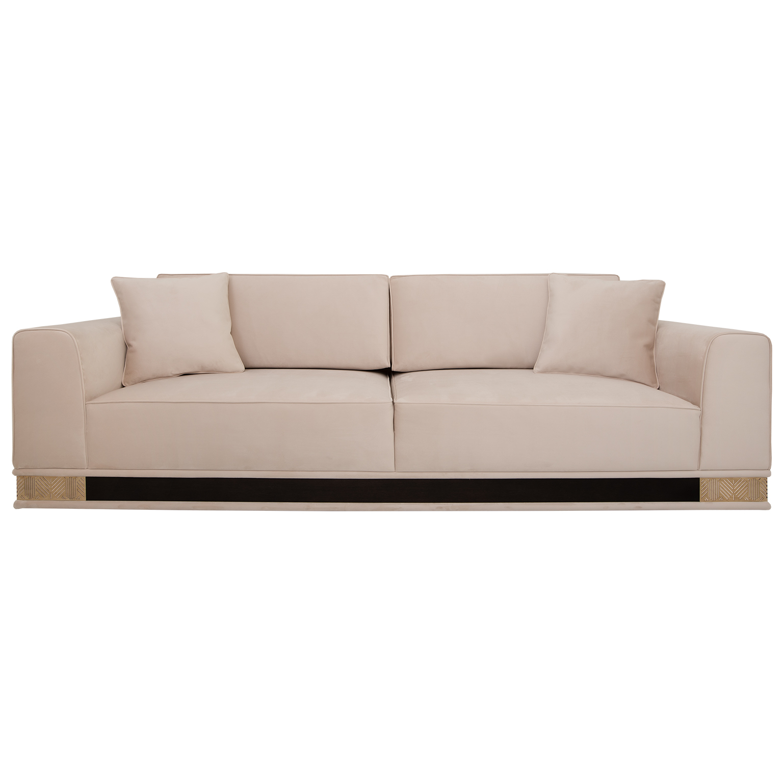 Rectangular sofa with base decorated in light gloss Macassar Ebony and brass wrapping around the bottom