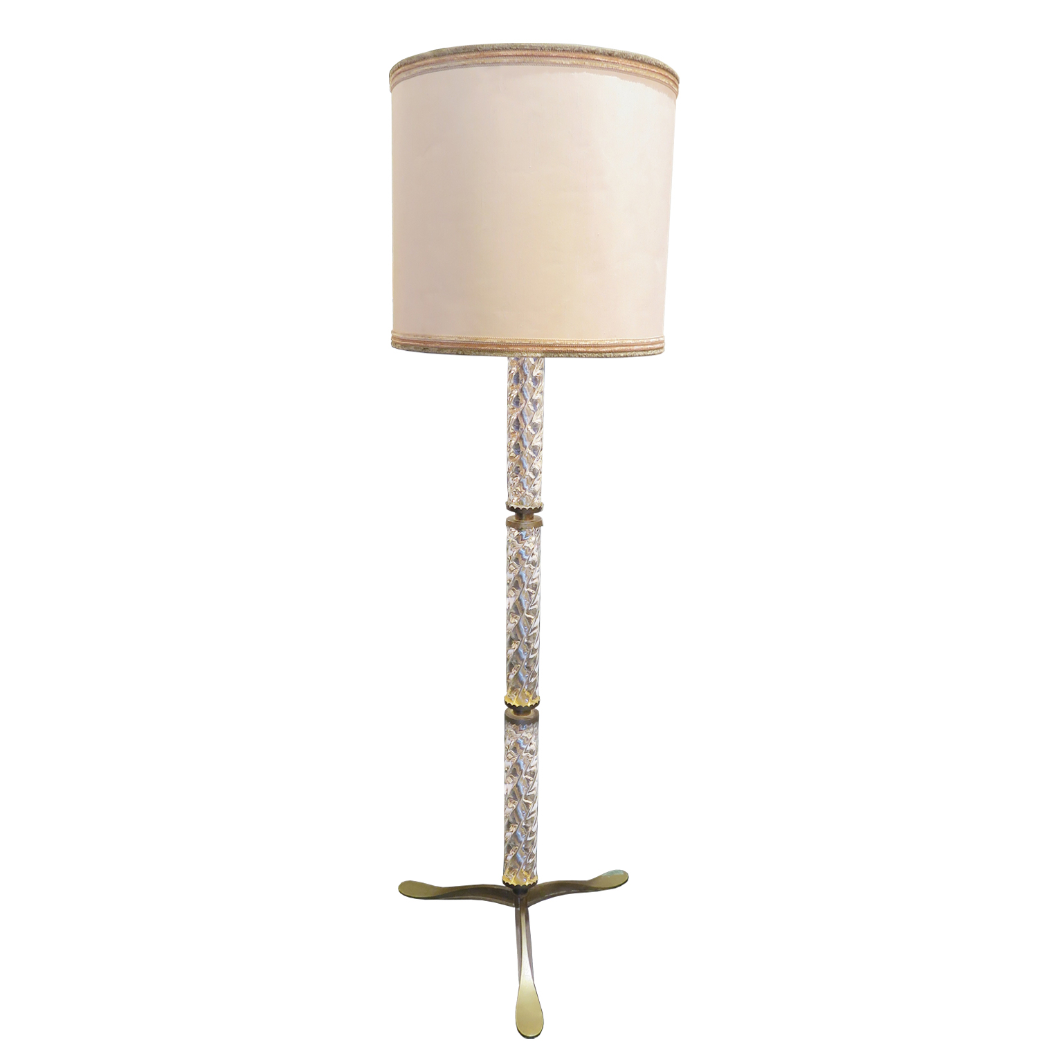 Mid-Century Murano Glass Floor Lamp with brass fittings and silk shade cover